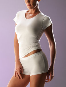 Dames T-shirt v-hals katoen/ellasthan RJ Bodywear