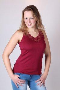 Dames hemd met afwerking katoen Toker