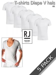 T-shirts met diepe v-hals katoen/elastan RJ Bodywear 5 pack