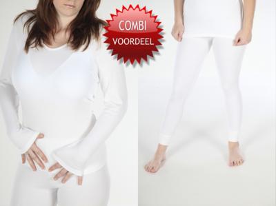 Combi pack met shirt lange mouwen-dames viscose/polyester beeren