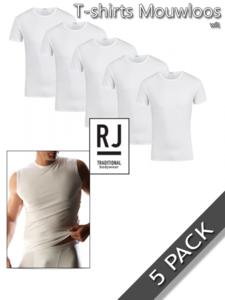 T-shirts mouwloos katoen/elasthan RJ Bodywear 5 pack
