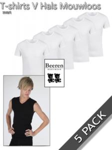 T-shirts mouwloos v-hals katoen Beeren 5 pack
