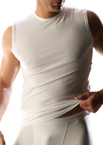 T-shirt mouwloos katoen/elasthan RJ bodywear