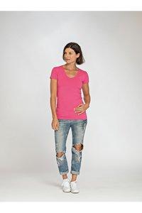 Dames T-shirt v-hals katoen/elasthan Lemon