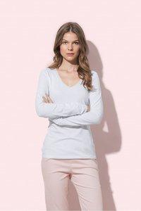 Dames shirt langemouw v-hals katoen/elasthan Stedman